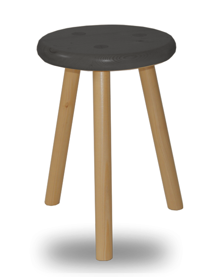 tabouret bois rond 3 pieds assise noire en sapin massif. Black Bedroom Furniture Sets. Home Design Ideas