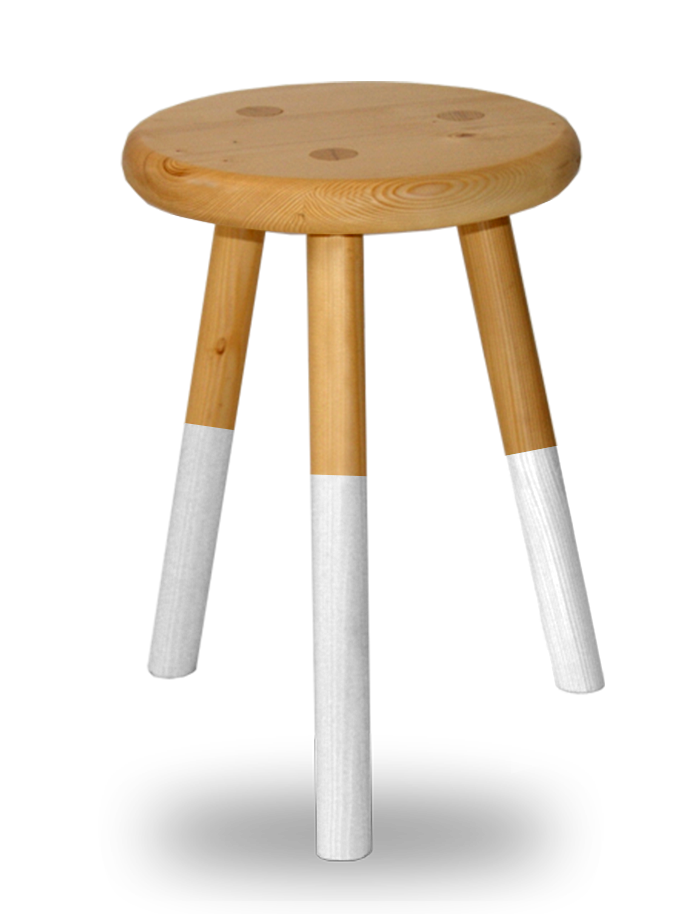 tabouret bois rond 3 pieds assise laque blanche en sapin massif. Black Bedroom Furniture Sets. Home Design Ideas