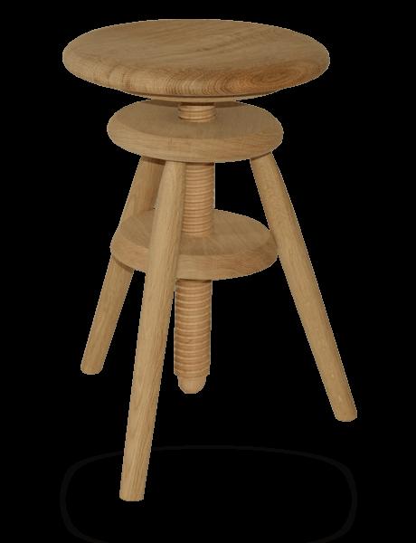 tabouret bois vis horloger r glable hauteur ch ne massif nature. Black Bedroom Furniture Sets. Home Design Ideas