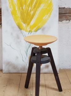 Le Contemporain, Tabouret vis pieds wengé assise vernis mat